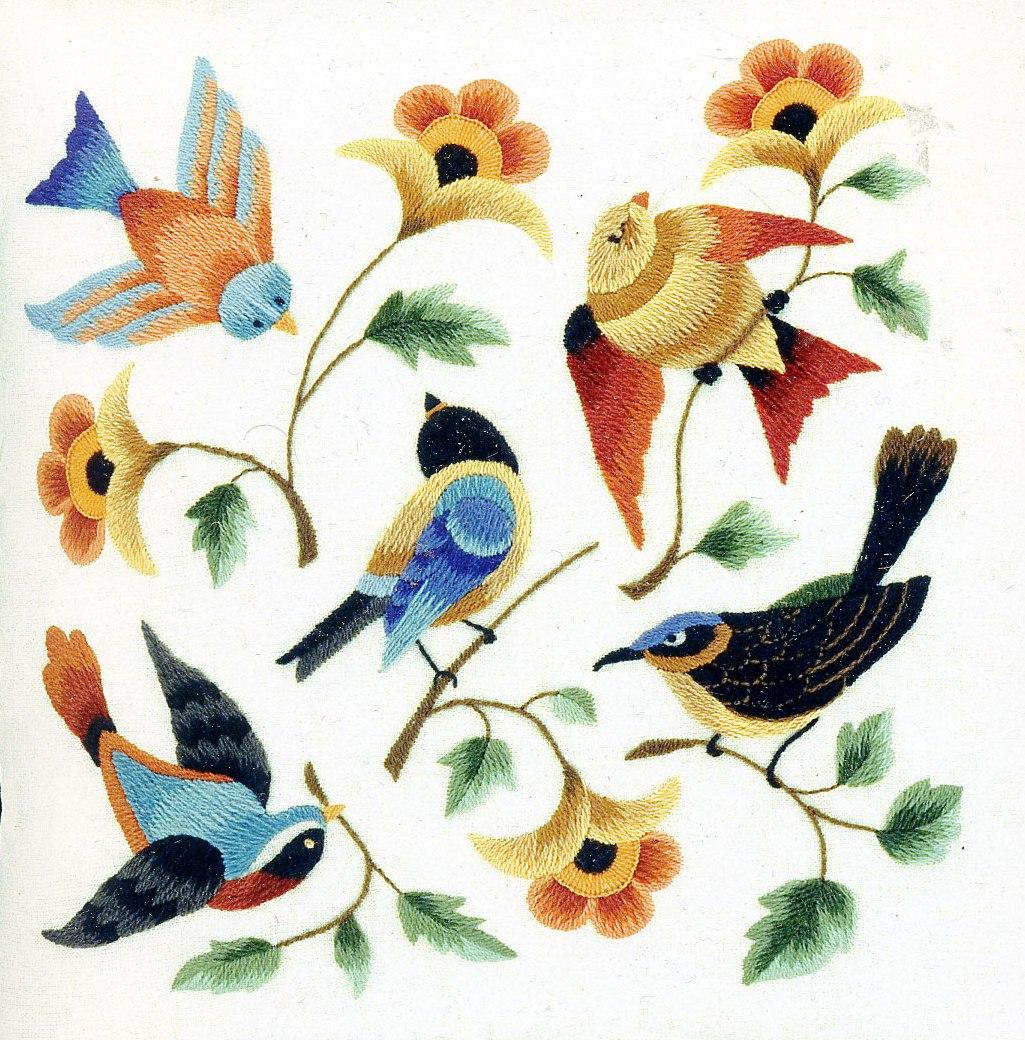 Объемная гладь, птицы и животные Рукоделие 91